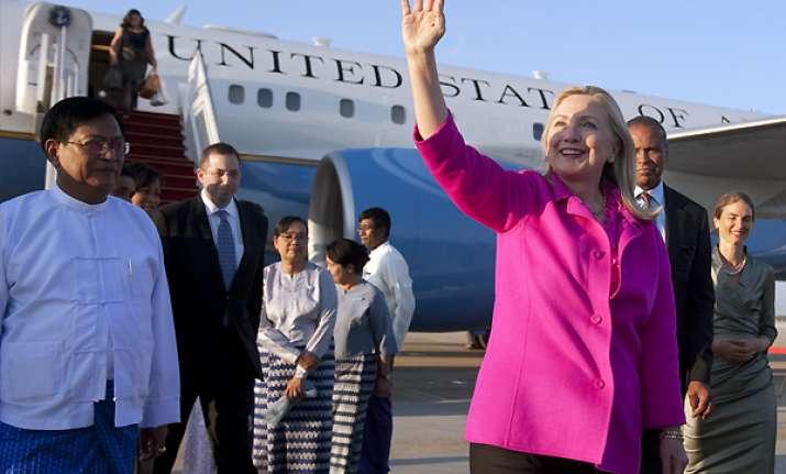 hillary clinton arrives on historic myanmar visit