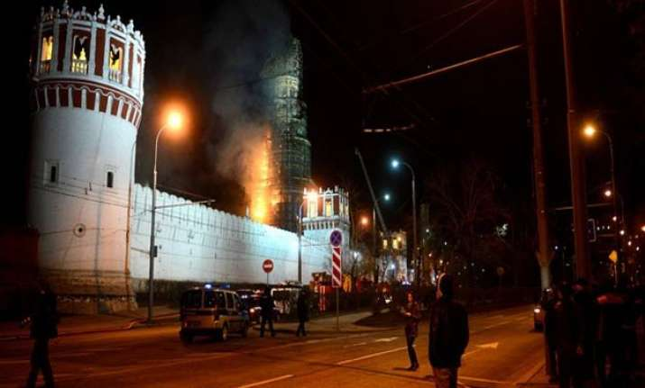 fire breaks out at moscow s ancient monastery