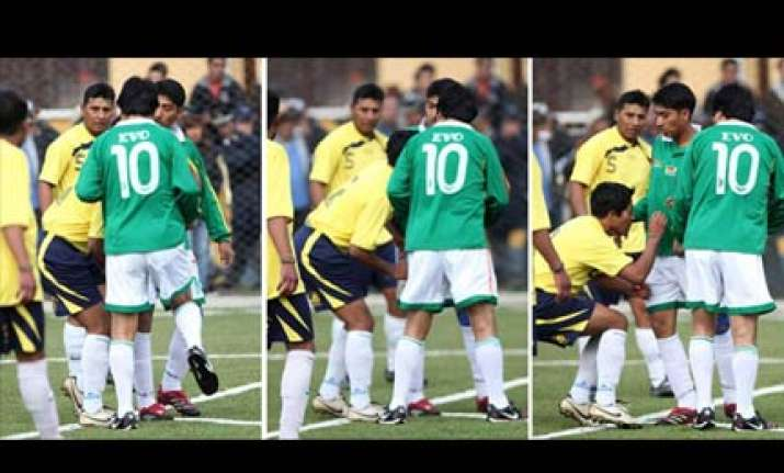 president of bolivia knees opponent in groin during