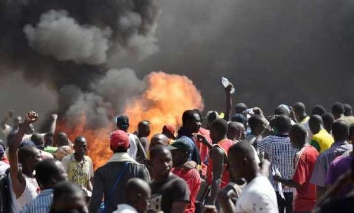 burkina faso parliament building set on fire