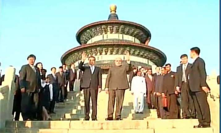 modi attends yoga taichi event at temple of heaven