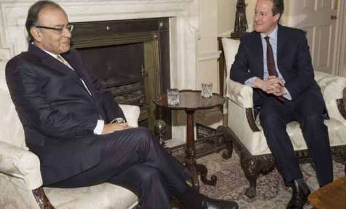 arun jaitley meets british pm cameron