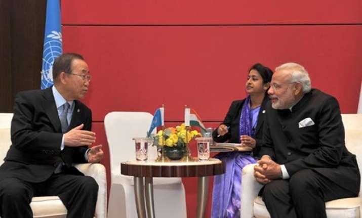 ban discusses unsc reform with modi invites him to un summit