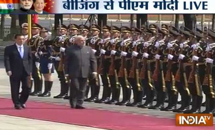 pm modi accorded ceremonial welcome at great hall of people