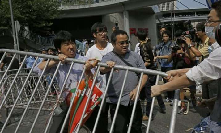 police removing barriers in hong kong protest zone