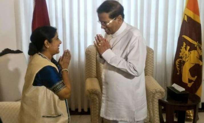 sushma swaraj briefs sri lankan president on bilateral