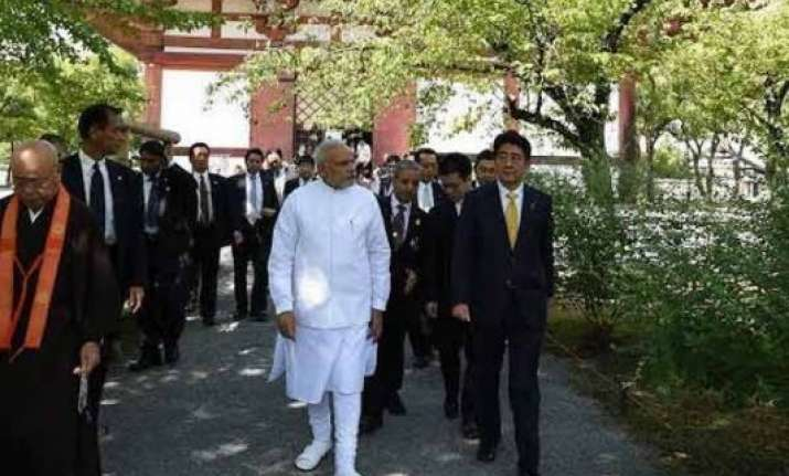 pm narendra modi visits ancient buddhist temple in kyoto