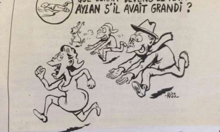 charlie hebdo cartoon depicts alan kurdi as a groper draws