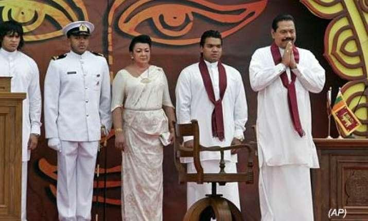 powerful lankan prez rajapaksa sworn in for second term