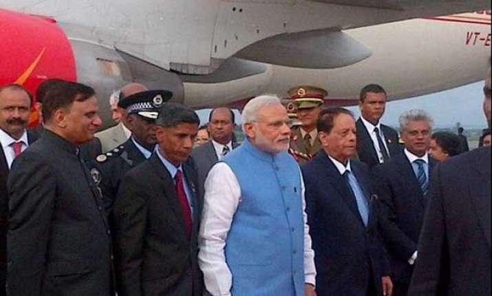 pm modi arrives in mauritius