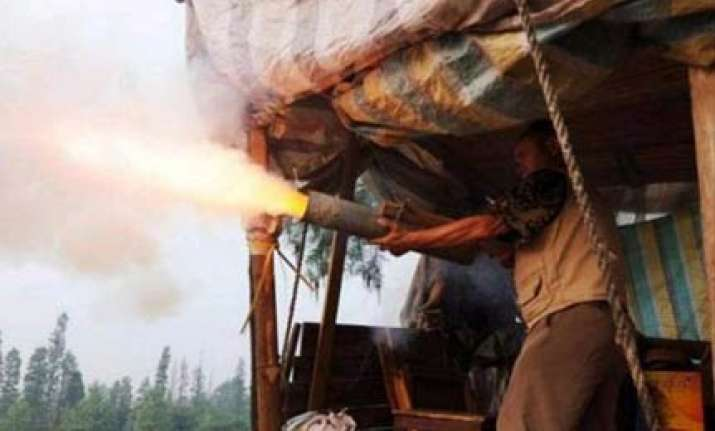 chinese farmer fires home made cannon to protect his land