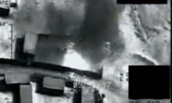 video footage of drone blasting taliban bomb factory in