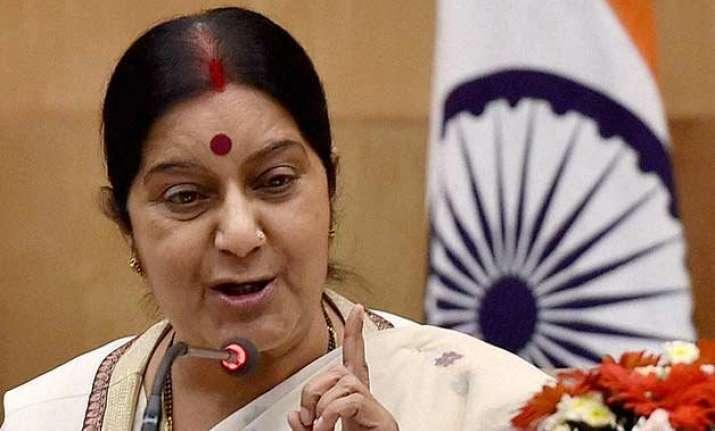sushma swaraj in russia for inter governmental commission