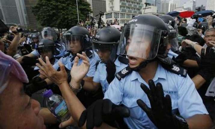 fresh scuffles between hong kong police activists