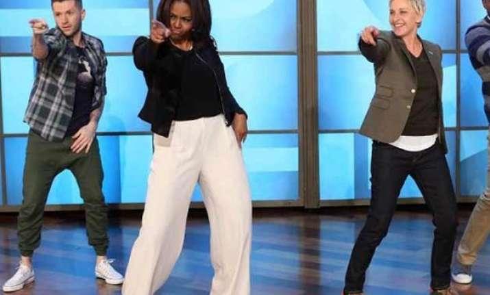michelle obama dances with ellen degeneres to uptown funk