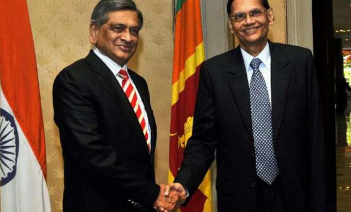 krishna arrives in sri lanka to meet top leadership