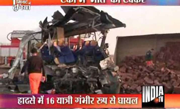 passenger bus collides with truck killing 25 people
