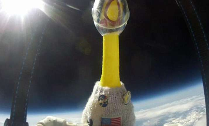 rubber chicken sent to space by us school students