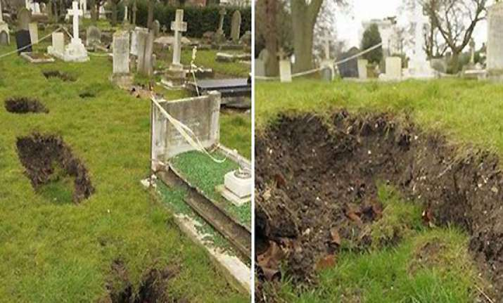 sinkholes threatening dead 50 coffins swallowed in uk