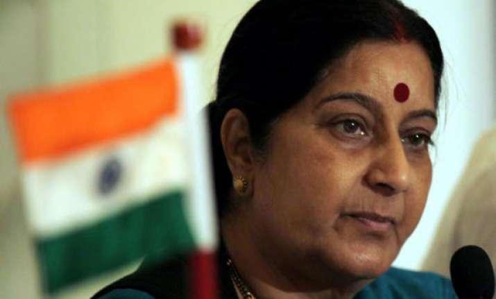 sushma swaraj arrives in vietnam on 3 day visit