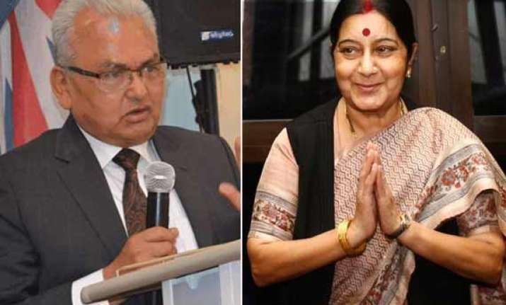 swaraj meets nepalese counterpart discusses a range of