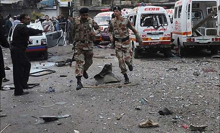 3 terrorists 2 policemen killed in suicide attack in karachi