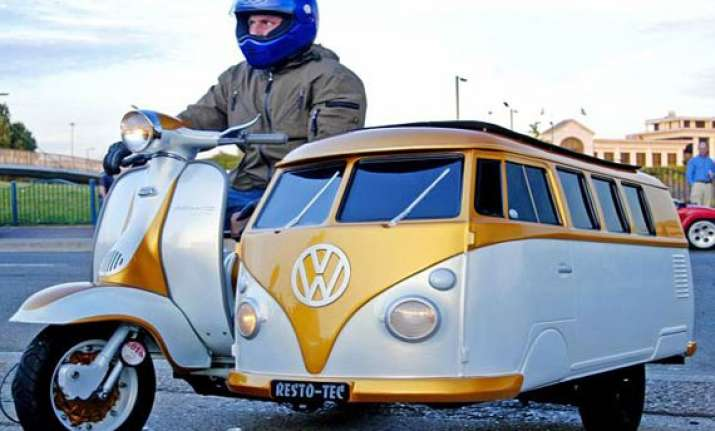 uk man fits vw camper van for his son to his 1961 lambretta