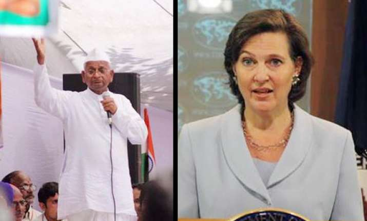us hopes india will exercise restraint during hazare fast