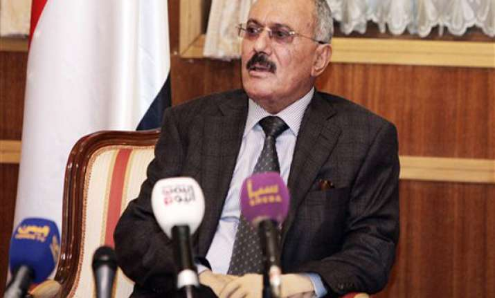 yemen president saleh says farewell leaves sanaa for us