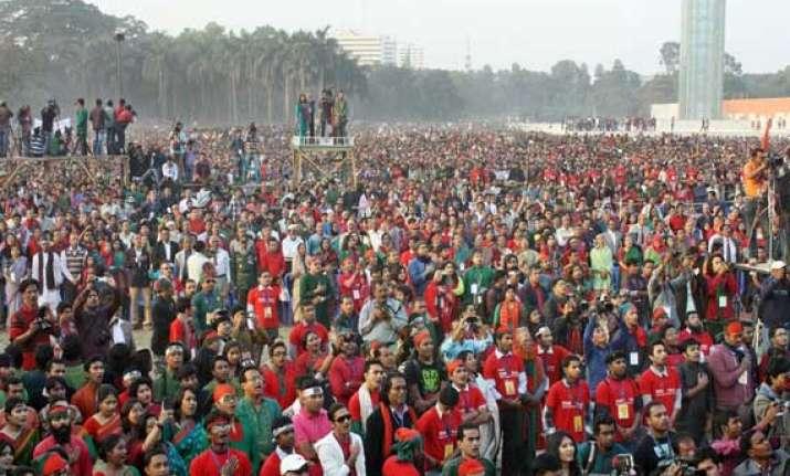 2.5 lakh people in bangladesh sing national anthem breaking