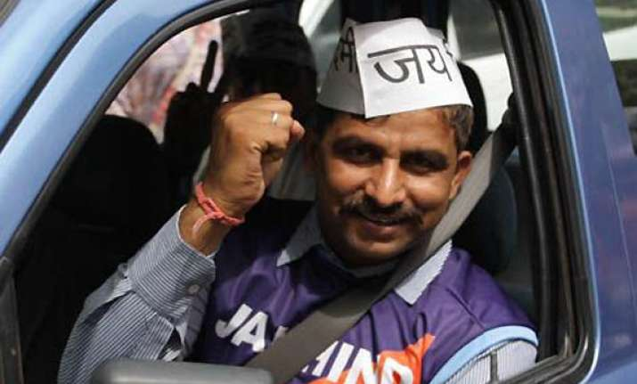 aap candidate hopes to ride his way to success on kejriwal