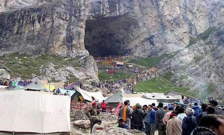 amarnath yatra begins pilgrims leave for holy cave
