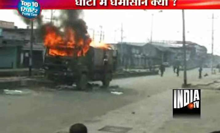 angry mob sets army truck on fire in kashmir