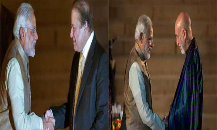 as pm modi has brief exchanges with saarc leaders