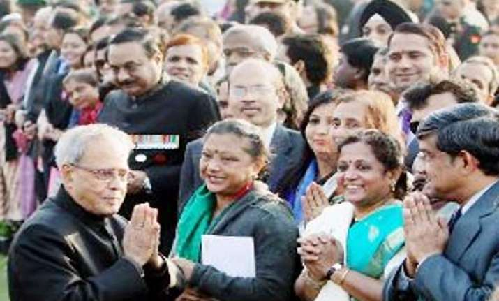 at his republic day reception president pranab gives