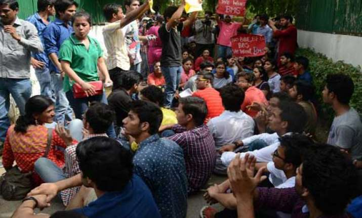 bms students protest over uncertainty on fate of course