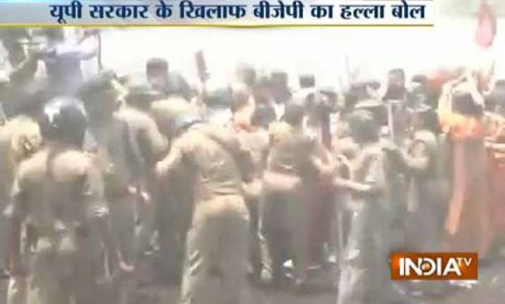 badaun gang rape protest water cannons used outside