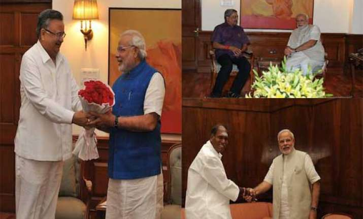 cms of goa chhattisgarh puducherry meet pm