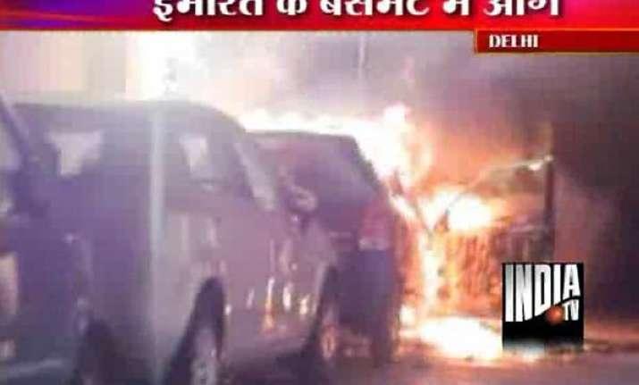 cars motorbikes gutted in delhi basement fire