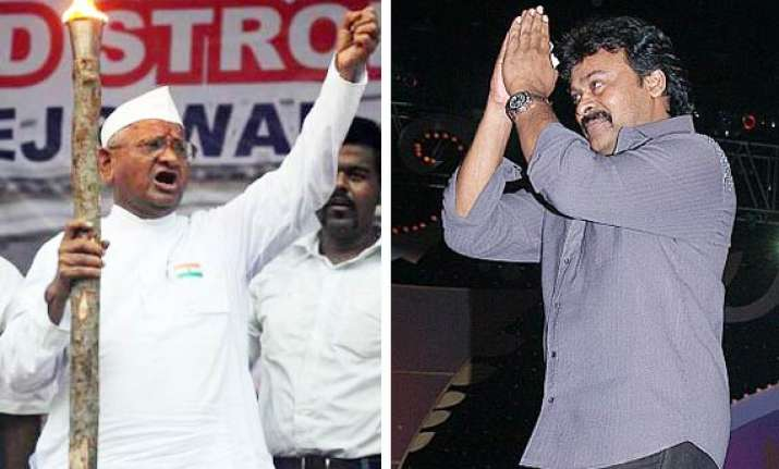 chiranjeevi extends support to hazare