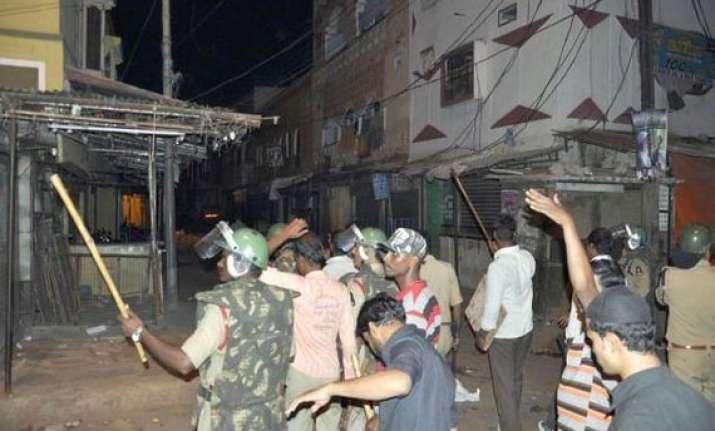 communal clash in ap town four injured