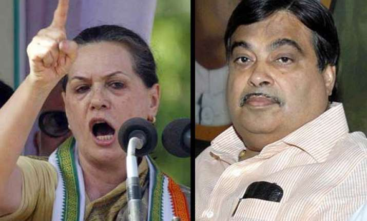 congress lashes out at gadkari for his sonia remark