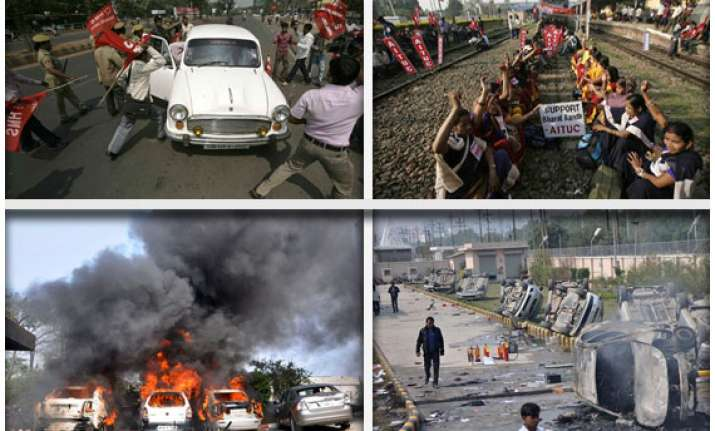 day 2 violence in delhi noida during strike workers join