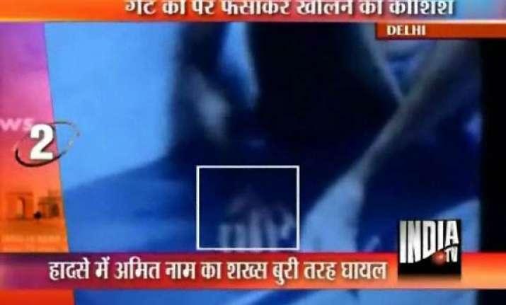delhi metro drags passenger with foot stuck in doors