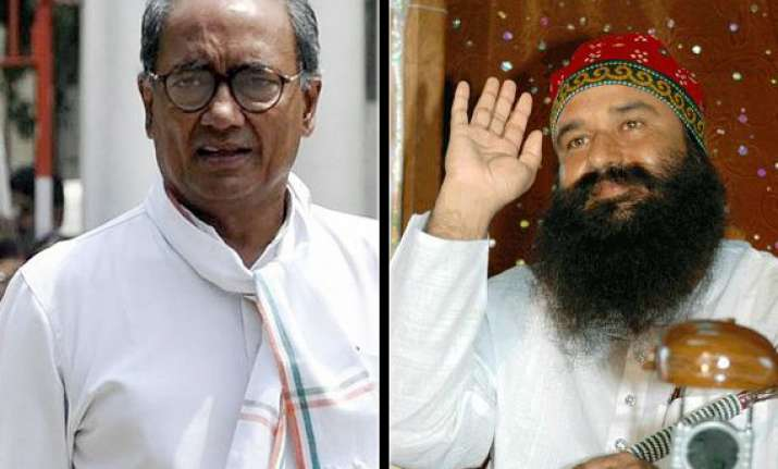 digvijay meets dera chief gurmeet asks for votes in up