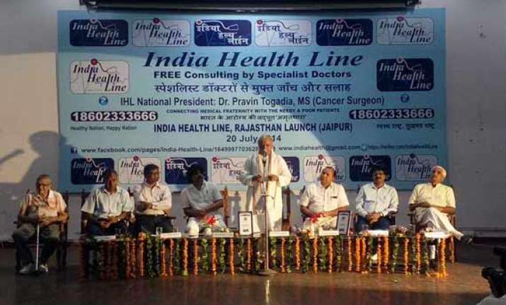 dr praveen togadia launches india health line in jaipur