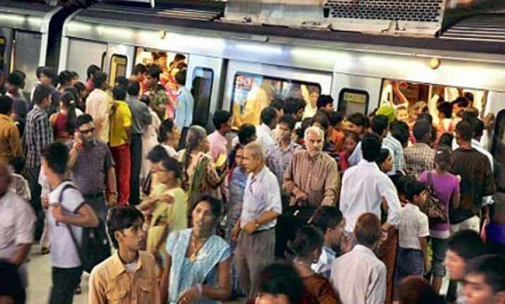 dwarka noida metro line held up by glitch during peak hours
