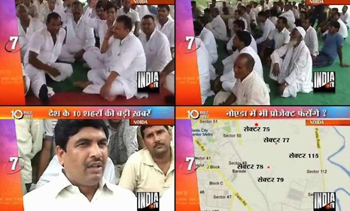 farmers sit on dharna in noida