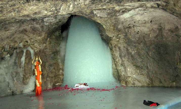 first pictures of holy amarnath ice lingam this season