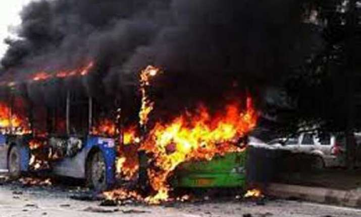 five killed as bus catches fire